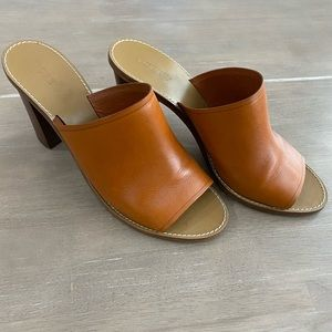 J. Crew Tan Leather Heeled Mules
